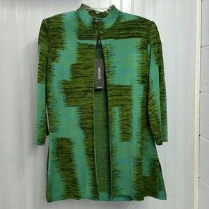 Misook Knit Jacket Green and Blue Sz Small